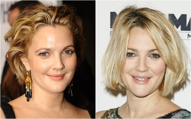Hairstyles for Fat Chubby Face: Drew Barrymore short wavy and straight bob