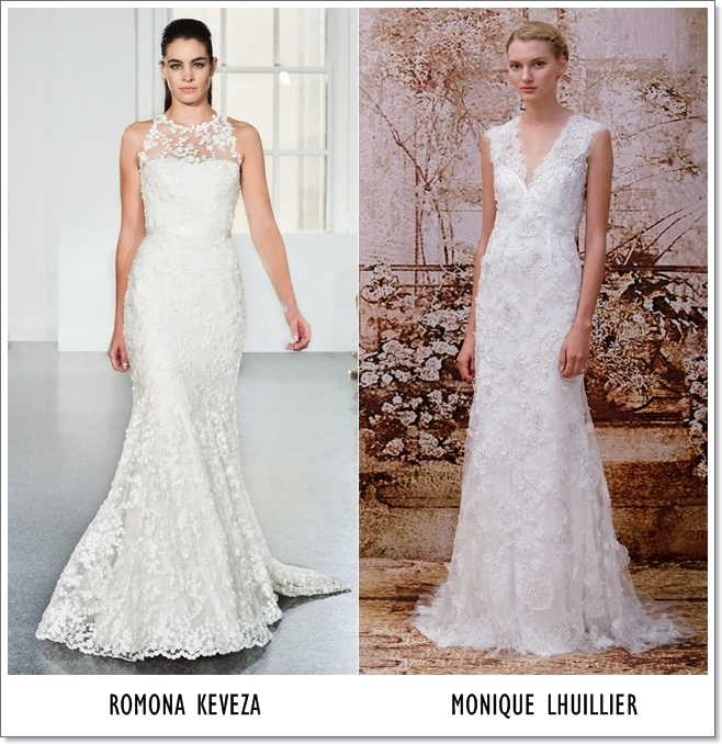Lace covered decollete wedding dresses  2014-2015