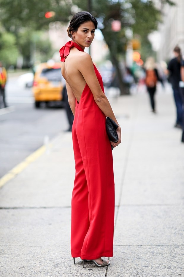 street style red elegant jumpsuit new york fashion week SS 2015