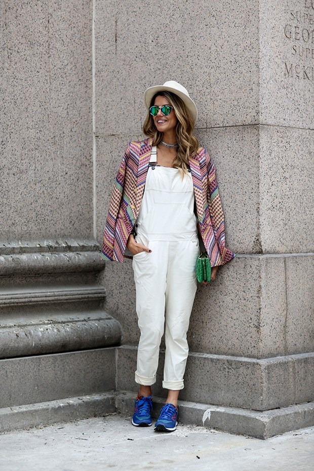 street style white jumpsuit new york fashion week SS 2015
