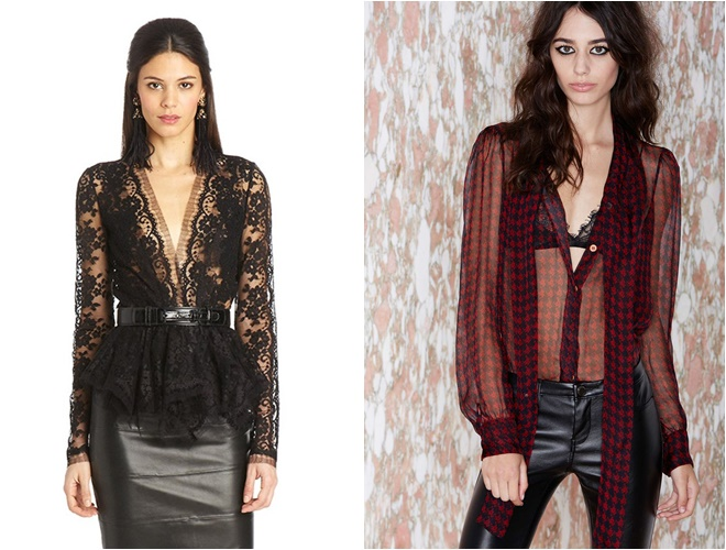 dark lace and Chiffon Blouses 2014-2015