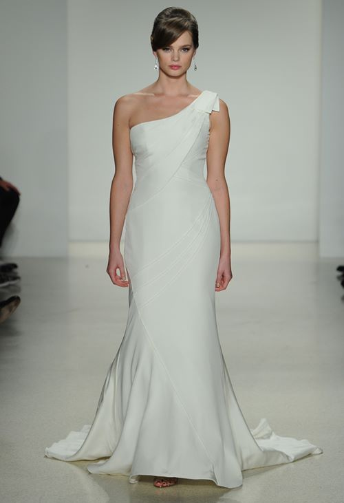 neat sleek asymmetric wedding dress 2015