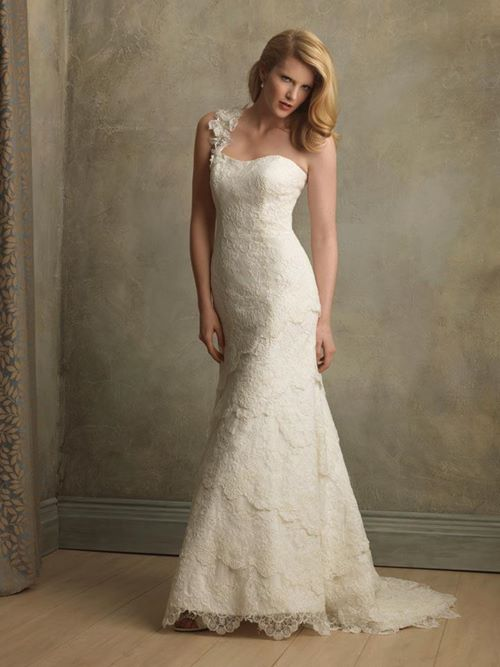 elegant asymmetric wedding dress 2015