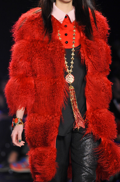 Faux fur coats Winter 2015 Anna Sui red coat
