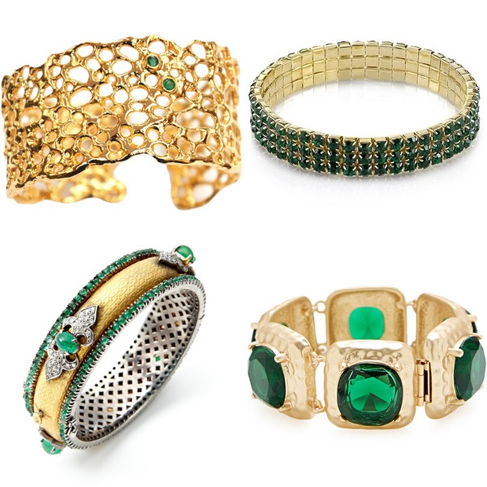 bold gold bracelets with emeralds