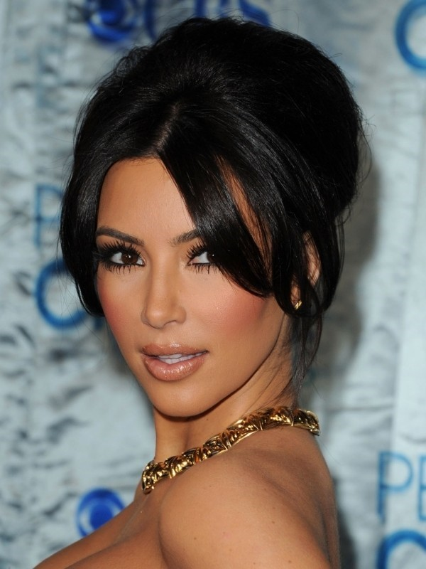Kim Kardashian retro style updo with bangs