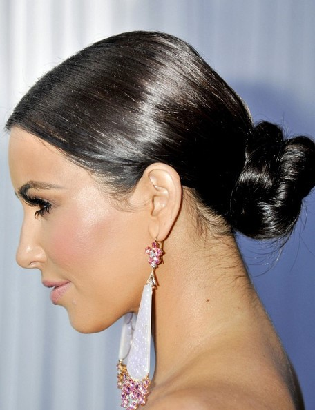 kim kardashian sleek shining low bun hairstyle