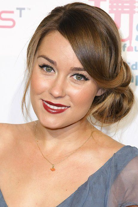 Lauren Conrad side bun hairstyle for round face