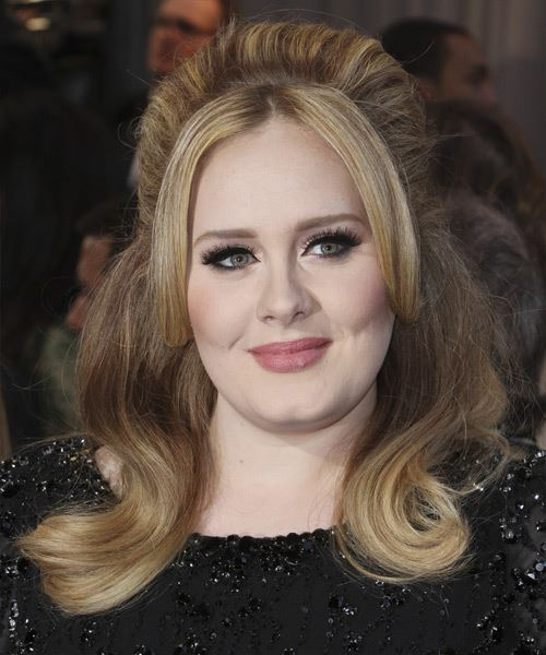 Adele long hairstyle for chubby face