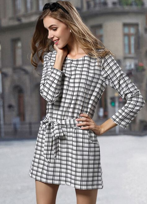 long sleeve plaid mini dress 2015