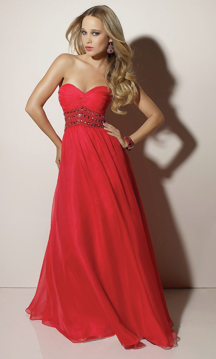 classic long bustier red prom dress 2015