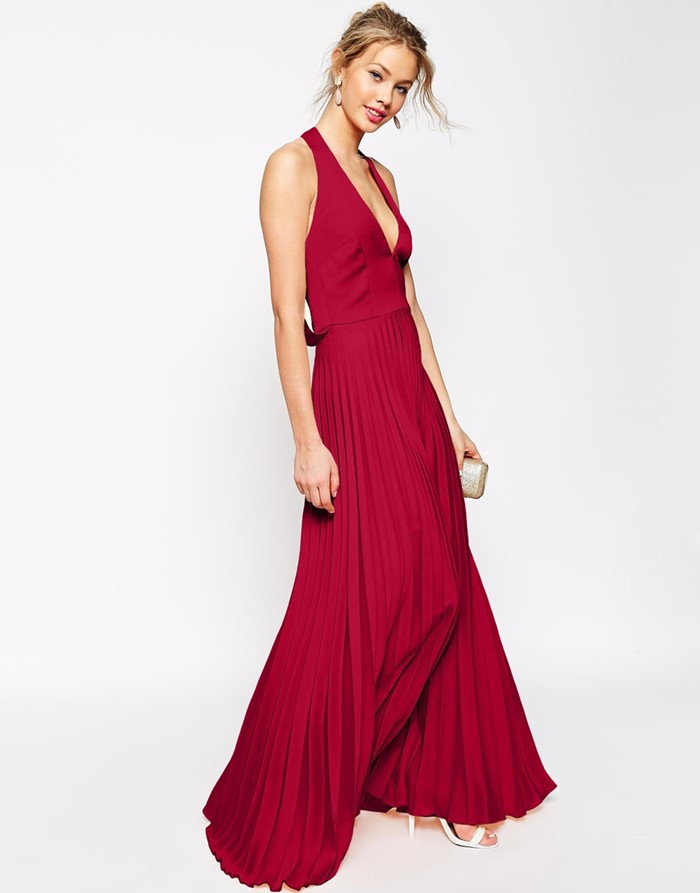 long pleated red prom dress 2015