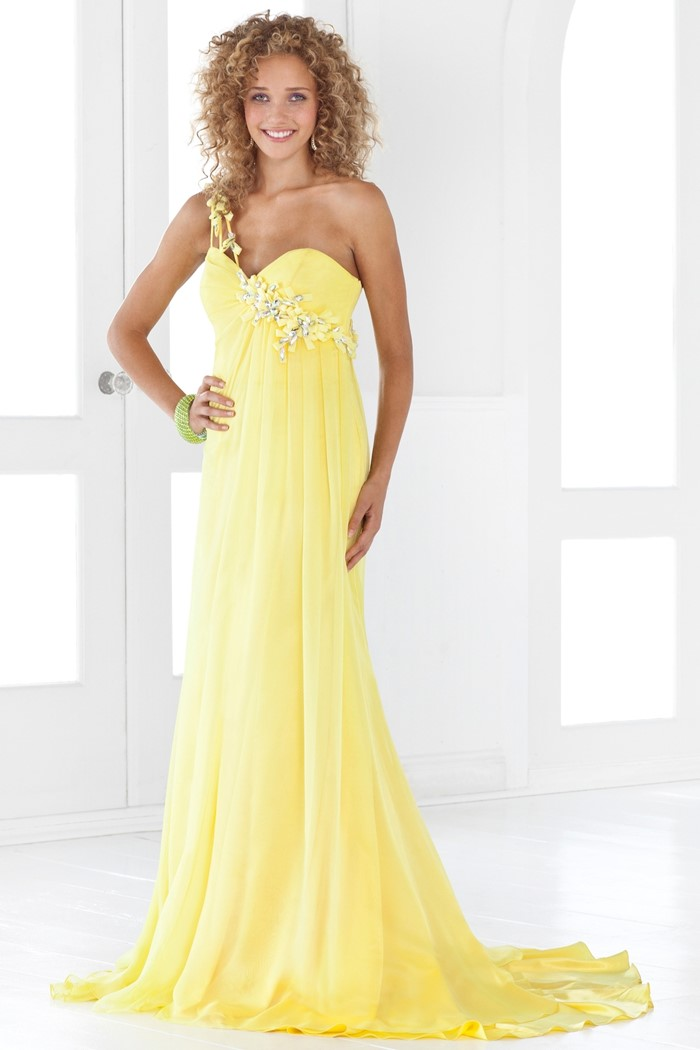 long empire style bustier yellow dress for prom 2015