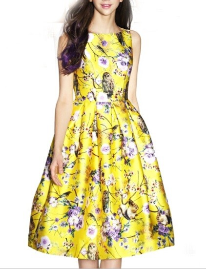 short floral yellow prom dress 2015
