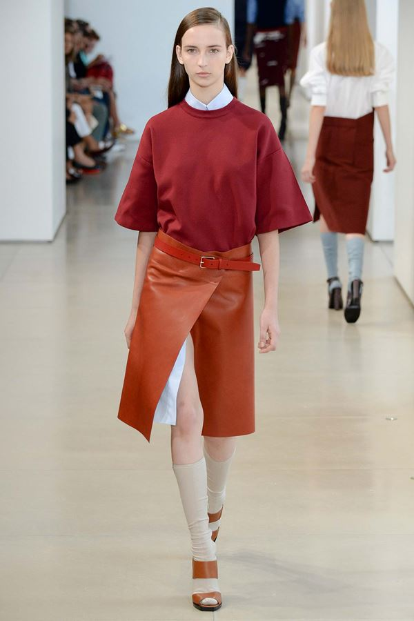 Jil Sander wrap leather skirt spring summer 2015