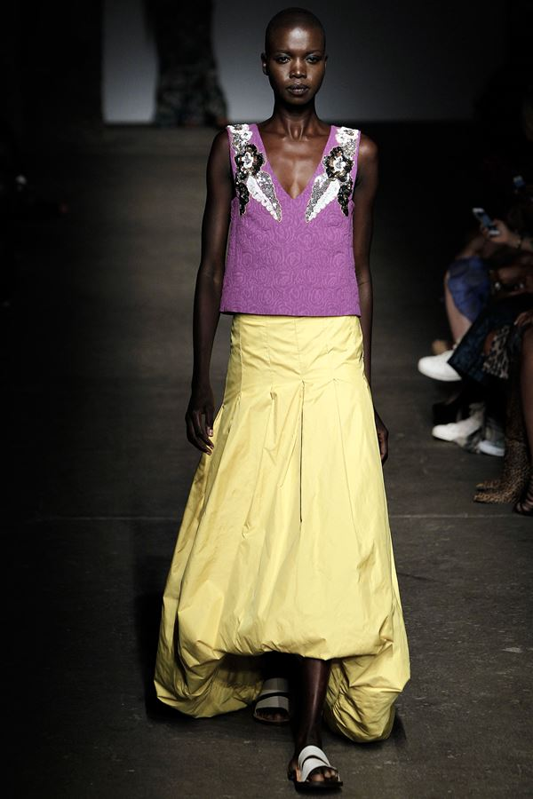Tracy Reese long hogh low yellow skirt spring summer 2015