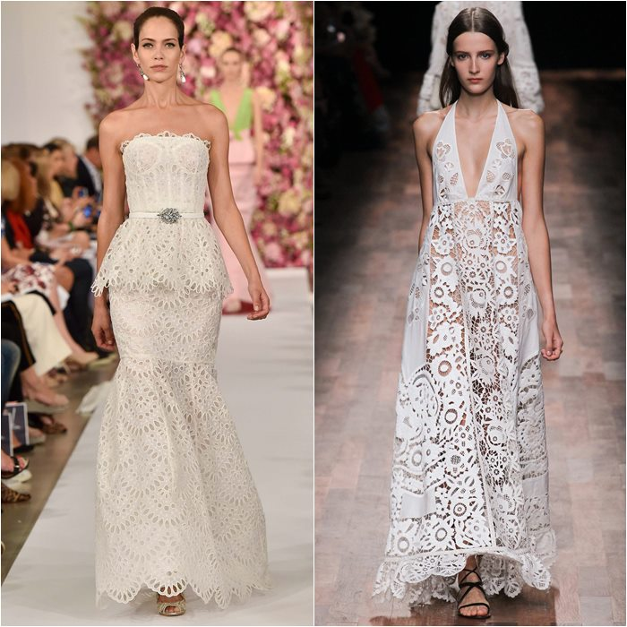 Oscar de la Renta and Valentino lace dresses 2015 photo