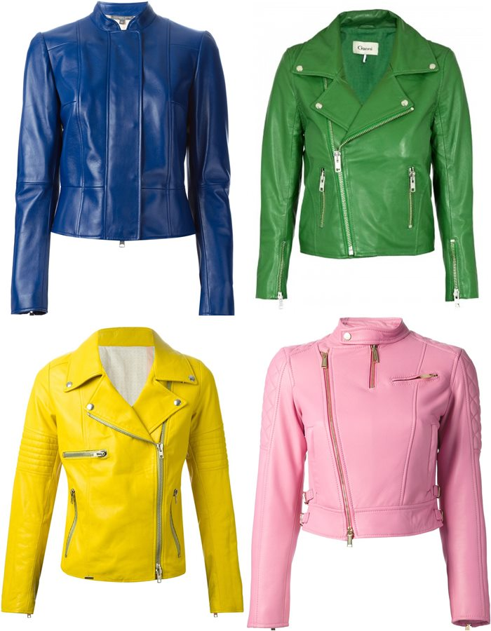 catchy color women's leather jackets 2015