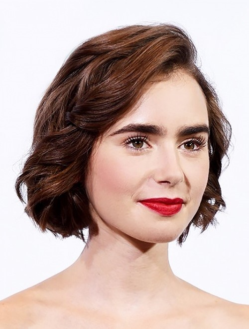 2015 Layered Bob Hairstyles: Lily Collins