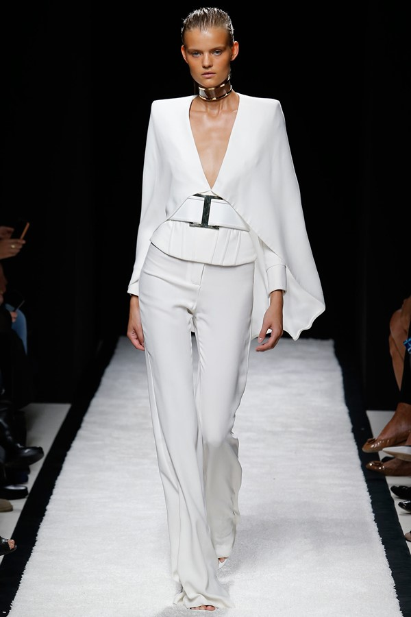 Balmain White Formal Pantsuit Spring-Summer 2015