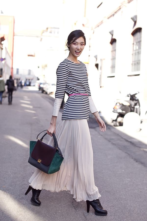stripes top, long pleated skirt, suede handbag