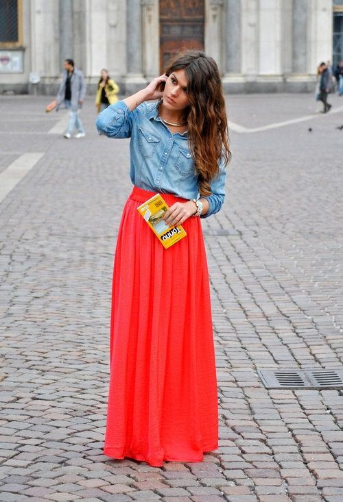 red maxi skirt, denim shiet