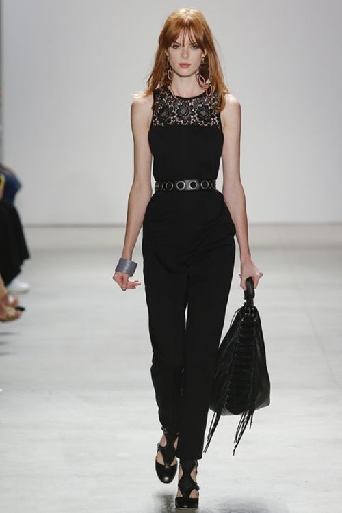 Rebecca Minkoff lace trimmed black jumpsuit