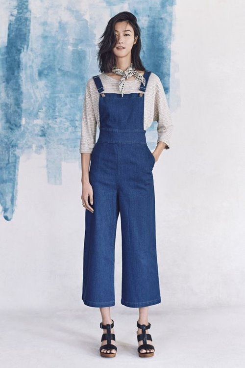 Madewell denim blue cropped jumpsuit