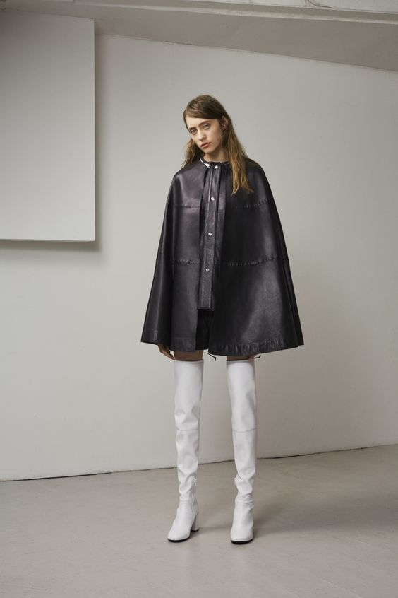 MCQ by Alexander McQueen black leather cape coat
