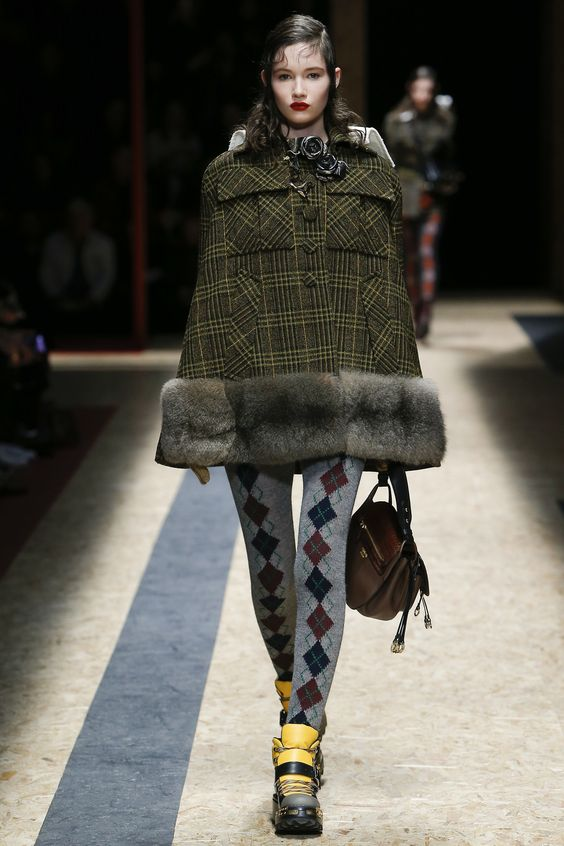 Prada green plaid fur cape coat