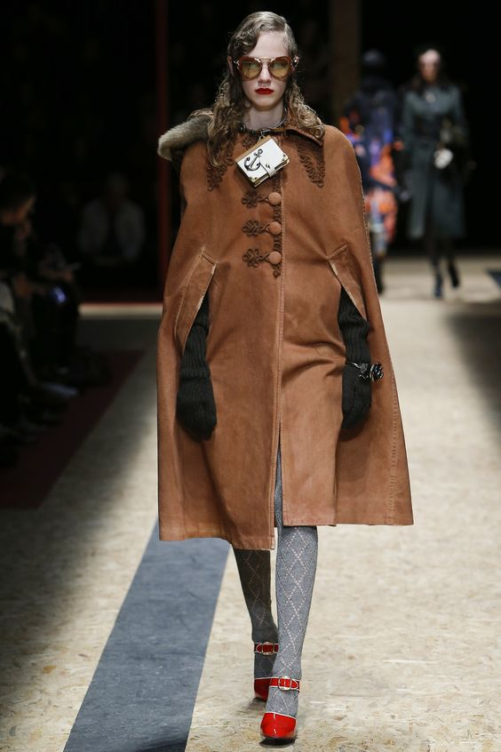 Prada rusty brown suede cape coat