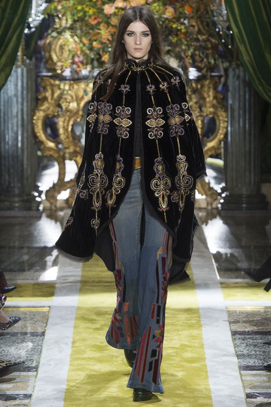 Roberto Cavalli embroidered cape coat