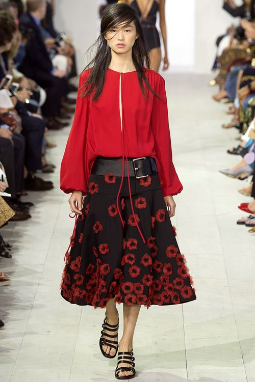 Michael Kors Collection black and red flower skirt