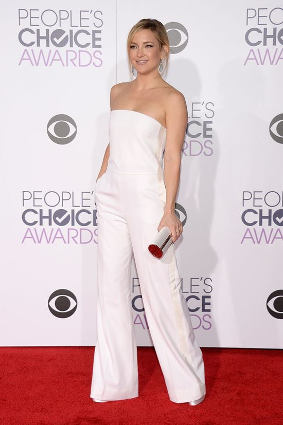 Kate Hudson  strapless white jumpsuit