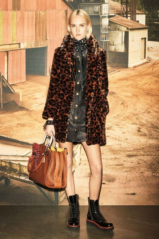 Coach 1941 short leopard coat with lace up boots