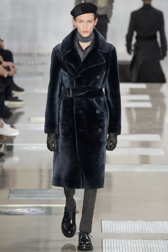 Louis Vuitton black trench style mens fur coat