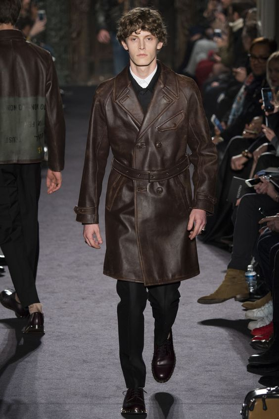 Valentino deep brown double breasted leather coat with belt