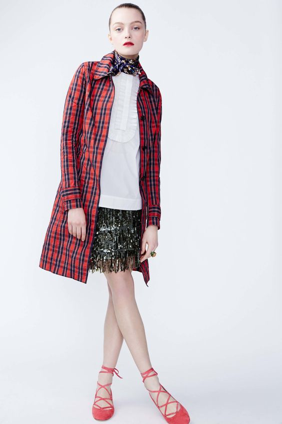 J.Crew light tartan coat