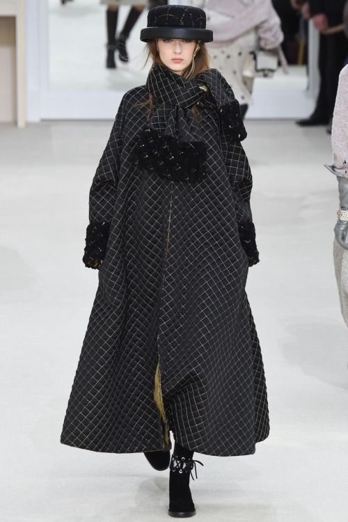 Chanel long A-line plaid coat
