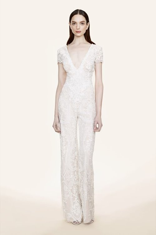 Marchesa bridal V-neck lace jumpsuit
