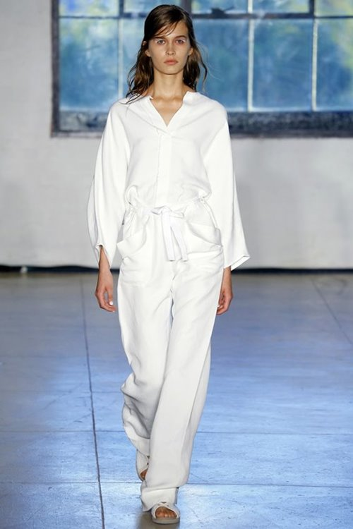 Zero Maria Cornejo white formal jumpsuit with long sleeves