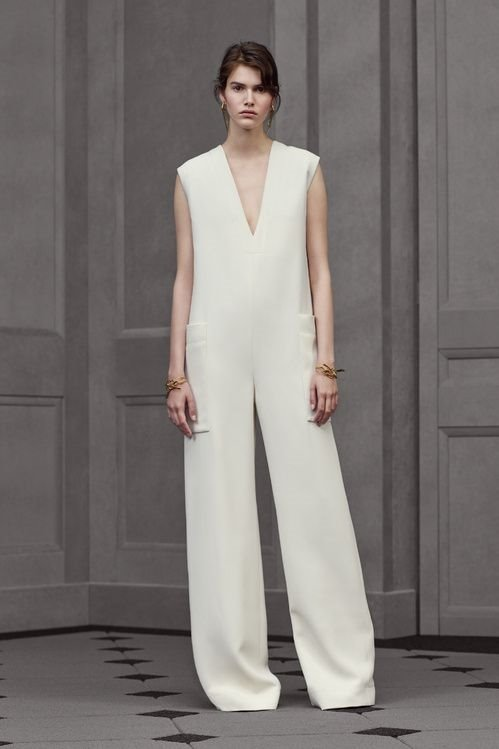 Balenciaga ivory loose jumpsuit with pockets