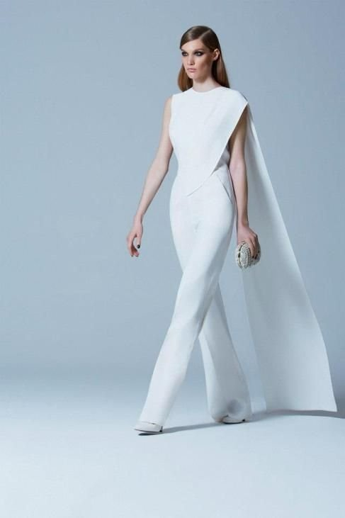 Elie Saab white bridal jumpsuit with long train