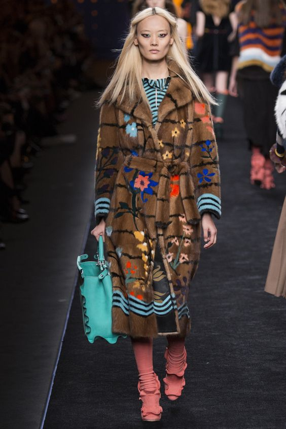 Fendi floral printed brown faux fur coat