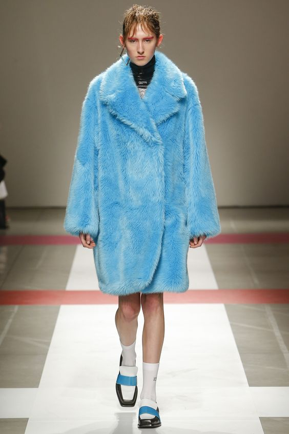 Iceberg bright blue faux fur coat