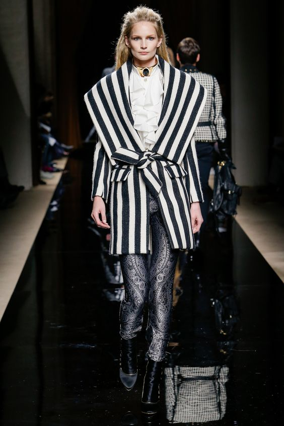 Balmain striped wrap coat