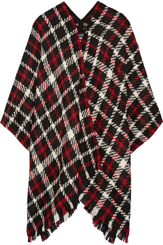 black and red plaid poncho 2017