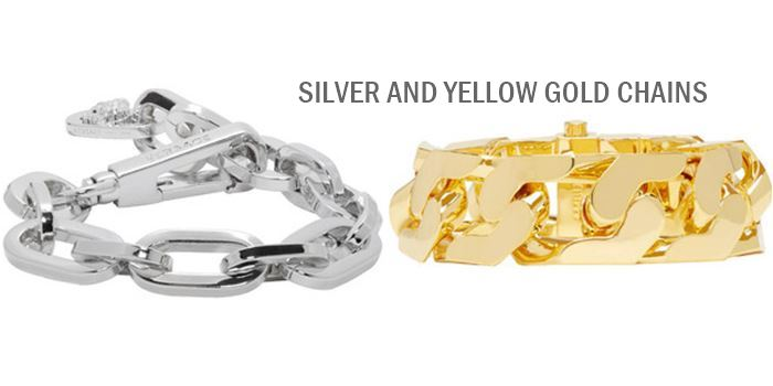 silver and yellow gold chain bracelets