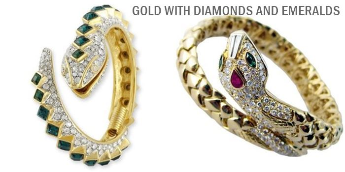 snake yellow gold bracelets with diamonds and emeralds