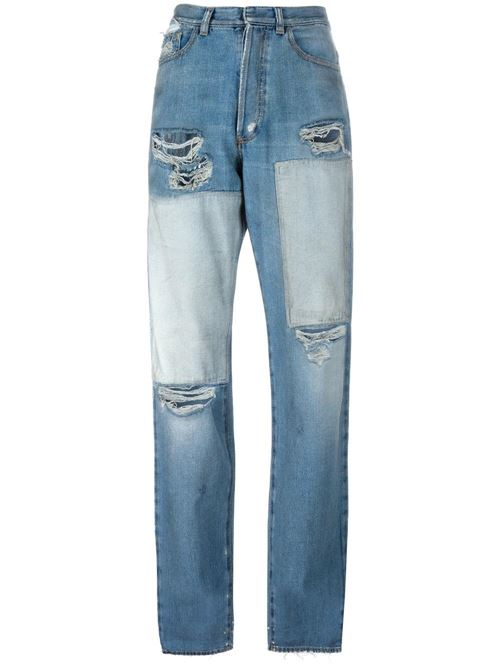 patchwork distressed boyfriend jeans